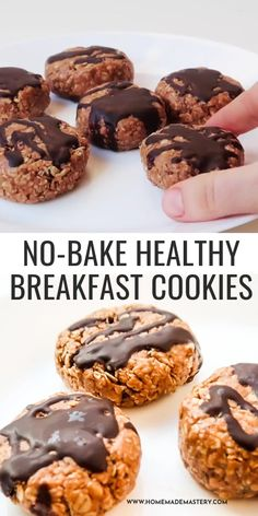 These no-bake breakfast cookies are made in 10 minutes and can be made ahead for the whole week - great meal prep recipe for breakfast on the go. Muffins Sains, Desserts Sains, Snacks Saludables, Easy Healthy Breakfast, Healthy Breakfasts, Meal Prep For Breakfast, No Egg Breakfast, Recipes For Breakfast, Gastronomia