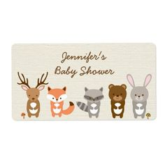 Cute Woodland Forest Animal Water Bottle Labels