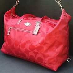 Coach XL Purple Magenta Overnighter Duffle Handbag New Coach Magenta Purple Pink Nylon Overnighter Dufflebag Handbag Coach Bags Travel Bags