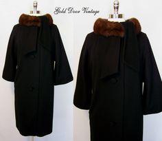 Lilli Ann Mink Fur Trim Swing Coat