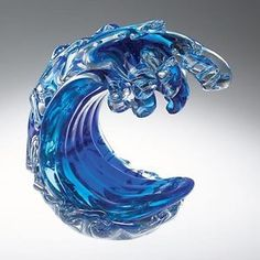 NEW Hand Blown Blue and Clear Glass Ocean Wave Paperweight Curving Surfing