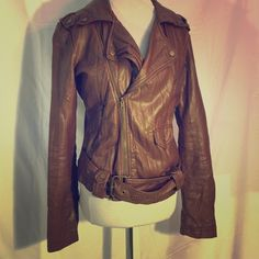 chocolate leather #womens #chocolate #brown #leather #zipup #jacket #size-    some pealing found at top of collar from being in storage Forever 21 Jackets & Coats