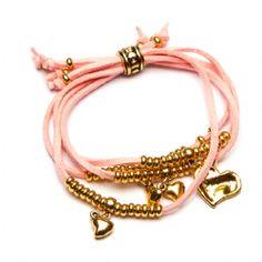 Gold Heart Charm Pink Suede Bracelet -BR256P Suede Bracelet, Cuff Bracelets, Bangles, We Love Heart, Heart Jewelry, Heart Of Gold, Heart Charm, Originals, Jewlery