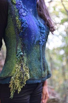 Купить Лигория- властительница мшистых скал.. - тёмно-зелёный, жилет, валяный жилет, светлана вронская