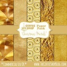 CoffeeShop - winter Christmas gold metallic downloadable papers