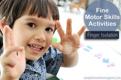 Being able to isolate a finger lays the groundwork for many other fine motor skills. Here are some fun finger isolation activities for your child. Fine Motor Skills Development, Physical Development, Child Development, Fine Motor Activities For Kids, Motor Skills Activities, Baby Activities, Standards For Mathematical Practice, School Ot, Pediatric Ot