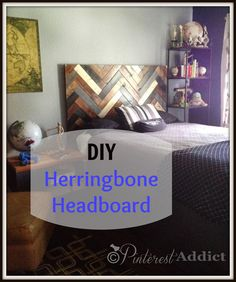 Herringbone Headboard - I think this is our coolest project yet. We built a headboard out of 1 x 4's for our son and it's fabulous. This is how we did it.