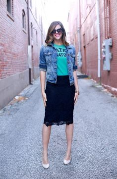 Fancying up a logo tee with a lace skirt