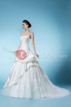 ビーズ&アップリケスイートハートのカテドラルのトラインウェディングドレス
