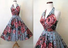 Amazing 1950's Designer Halter Dress w/ Large Roses by wearitagain