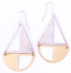 Opposites Attract Silver and Gold Brass Fair Trade Earrings - Bombay Bongo Unique Gifts