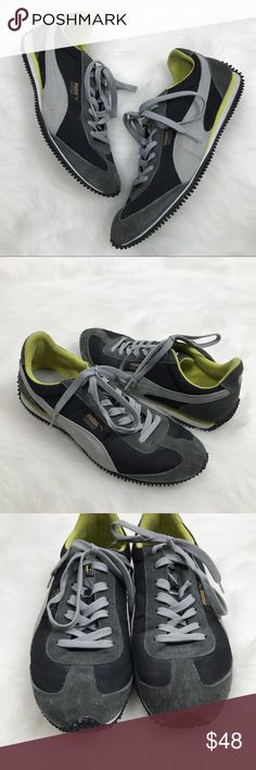 Puma Speeder Men's Sneakers Puma Speeder Men's Sneakers in Gray, Black & Yellow! A great basic & classic shoe! Size 9.5. Previously loved. Some wear on Suede & on right Rubber on the toe. KE4130030718 Puma Shoes Athletic Shoes
