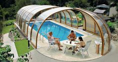 Check these out. Retractable pool covers, many styles available and they slide with ease.You Can Have an Outdoor and Indoor Pool with This Enclosure, Watch how easy they retract on website video.