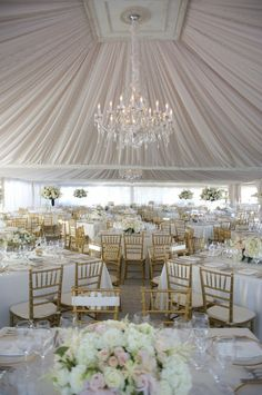 reception idea(: i love the tent and the chandelier!