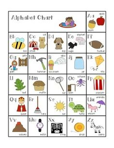 This alphabet chart is great to use with your students.  You can use it in conjunction with my Word Wall Headers, that way anytime your students need to reference the sound a letter makes it will be the same on your word wall and on their individual alphabet charts.