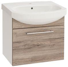 Szafka z umywalką Inker 60 cm dąb/biały 1 szuflada Vanity, Bathroom, Dressing Tables, Washroom, Powder Room, Bathrooms, Makeup Dresser, Mirror, Bath