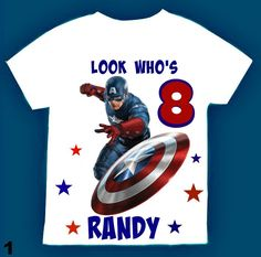 Capitan America Birthday Boy Shirt, Personalized with child name and age. by FantasyKidsParty on Etsy https://www.etsy.com/listing/489330363/capitan-america-birthday-boy-shirt