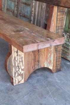 Welded Furniture, Diy Garden Furniture, Diy Furniture Easy, Industrial Furniture, Driftwood Furniture, Furniture Projects, Outdoor Furniture, Rustic Outdoor Benches, Rustic Wood Bench