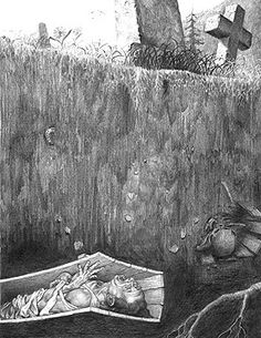 Premature Burial illustration by George Almond, contemporary Canadian illustrator for Edgar Allan Poe's story of the same name. Poe was phobic about the possibility of being buried alive as were many people before the advent of embalming. The Conqueror Worm, Premature Burial, Scary Facts, Edgar Allan Poe, The Victim, Bury, Macabre, Survival, History