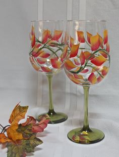 Set of 2 Hand Painted Wine Glasses - Fall Leaves on Green Stems by SilkEleganceFlorals on Etsy