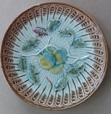 Antique MAJOLICA Plate Butterfly Fruit Turquoise Hornberg Germany German