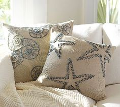 Knotted Ocean Embroidered Pillow Covers #potterybarn