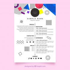 Modern cv template in memphis style Free Vector Creative Cv Template, Modern Cv Template, Resume Template Free, Cv Inspiration, Website Design Inspiration, Graphic Design Resume, Brochure Design, Beau Cv, Layout Cv
