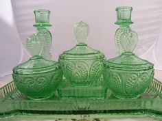 Vintage Art Deco Green Glass Dressing Table by thesecretcupboard, £50.00