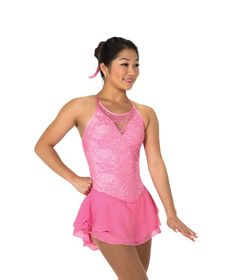 406614f882 New Jerrys Competition Skating Dress 66 Lacy Bows Clear Pink Lace Made on  Order