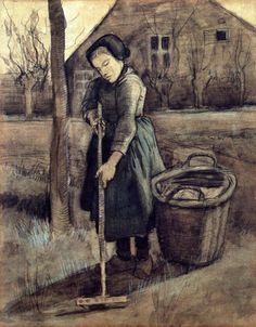 Vincent Van Gogh - A Girl Raking, 1881. Black chalk and watercolor on paper, 58 cm (22.83 in.) x 46 cm (18.11 in.). Centraal Museum, Utrecht, Netherlands