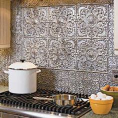 Easy Economical Punched Tin Backsplash The Whole Kitchen Project Cost Only 31 00 Home Improvement Ideas Pinterest