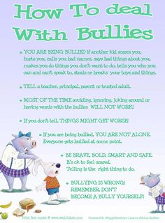How to help kids deal with bullying. I hate that I even have to have this conversation with my kids as young as they are. For my nephew who beat cancer but was bullied at school today and tripped and punched God Bless You and Protect you ALWAYS Bullying Lessons, Stop Bullying, Anti Bullying, Speech About Bullying, Bullying Facts, Bullying Prevention, Anxiety In Children, Young Children, Tips & Tricks