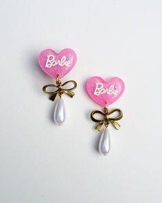 #barbie #heart #doll #cute #sweet #pink #glitter #rhinestone #bow #gold #pearl #plugs #bodymods #piercing #handmade #etsy #neighborhoodstory