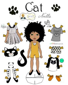 """Opposite of Far, Story Book, collaboration, """"Cat and Mouse"""" Paper-Doll set, printable paper dolls Free Paper, Diy Paper, Paper Art, Paper Crafts, Imprimibles Toy Story Gratis, Art Origami, Hello Kitty, Paper Dolls Printable, African American Dolls"""