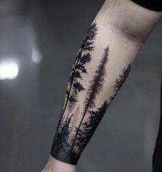 tatuagem, masculina, homem, braço, árvore, floresta
