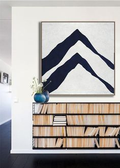 Hand-painted Navy blue and White Abstract Painting on canvas, minimalist art #NV309A by CZ Art Design @CelineZiangArt