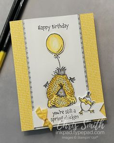 Hey Birthday Chick Stampin' Up! card balloon by Chris Smith Spring Chicken, Up Balloons, Bird Cards, Animal Cards, Funny Cards, Scrapbook Cards, Scrapbooking, Stamping Up, Stampin Up Cards