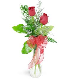 Two red roses perfectly and simply express the joy that you've found with that special someone - representing each of you!   Two stunning red roses are arranged with delicate caspia and a lovely  red ribbon - it's the perfect way to express what words can't say!