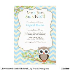 Baby shower invitation onesie owl theme for boy printed on matte chevron owl themed baby shower invitations filmwisefo