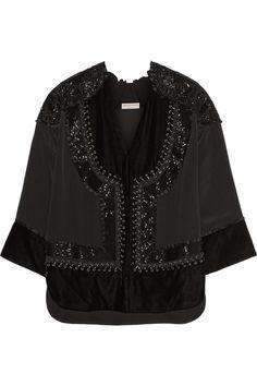 Emilio Pucci | Leather-trimmed embellished satin top | NET-A-PORTER.COM
