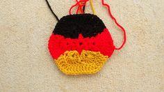 German flag crochet hexagon crochet soccer ball, crochetbug, 2014 world cup, crochet ball