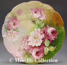 Hand painted china are small pieces of art to put on a wall or to stand up on a table or to use on your table......beautiful