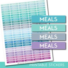 Meals stickers, Food printable stickers, Meal planner sticker, Dinner stickers…