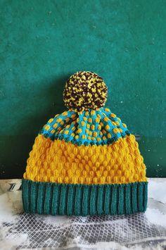PomPom Beanie Hat - Jungle