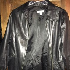 Black zip up leather jacket DressBarn zip up Black leather jacket only worn once. Size 1X Dress Barn Jackets & Coats Trench Coats