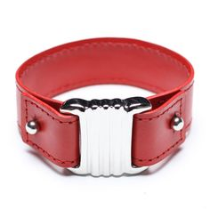 red leather bangle, 00570
