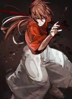Kenshin Himura ~Rurouni Kenshin (*)finally I see some good art on one of my first anime Rurouni Kenshin, Kenshin Anime, Girls Anime, All Anime, Anime Guys, Samurai Anime, Samurai Art, Manga Art, Manga Anime