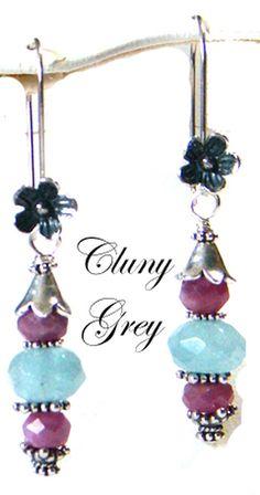 ruby dangle earrings with aquamarines