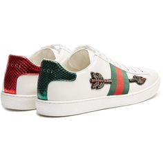 Gucci New Ace arow-embroidered leather trainers ($695) ❤ liked on Polyvore featuring shoes, sneakers, stripe shoes, embroidered sneakers, gucci, leather trainers and gucci sneakers