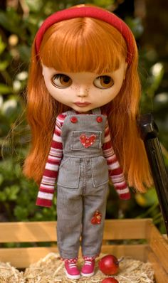 Grey Corduroy Country Overalls With Candy Striped Shirt And Headband For Blythe Doll